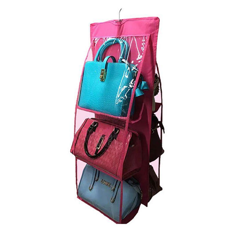 6 slot closet hanger storage bag organizer wardrobe rack - Purse organizer for closet ...