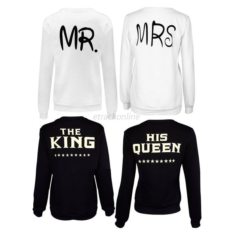 couple matching hoodies mrs king mr queen print casual. Black Bedroom Furniture Sets. Home Design Ideas