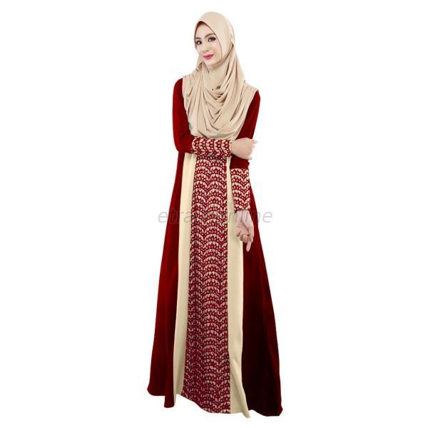 Lace Stitching Long Sleeve Party Maxi Dress Abaya Islamic Muslim ...