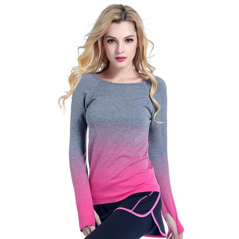 Fashion Women's Gym Sports Workout Long Sleeve Yoga Tops
