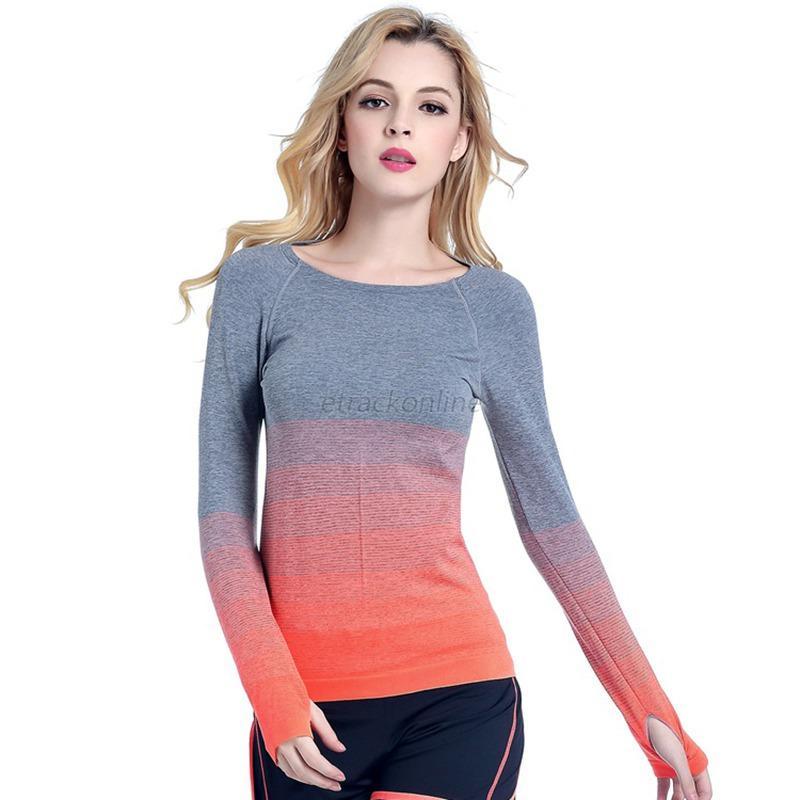 Fashion women 39 s gym sports workout long sleeve yoga tops for Workout shirt for women