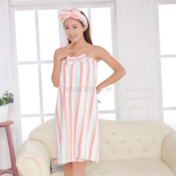 Soft Women Girls Shower Body Spa Bath Wrap Towel Bathrobe Bath ...