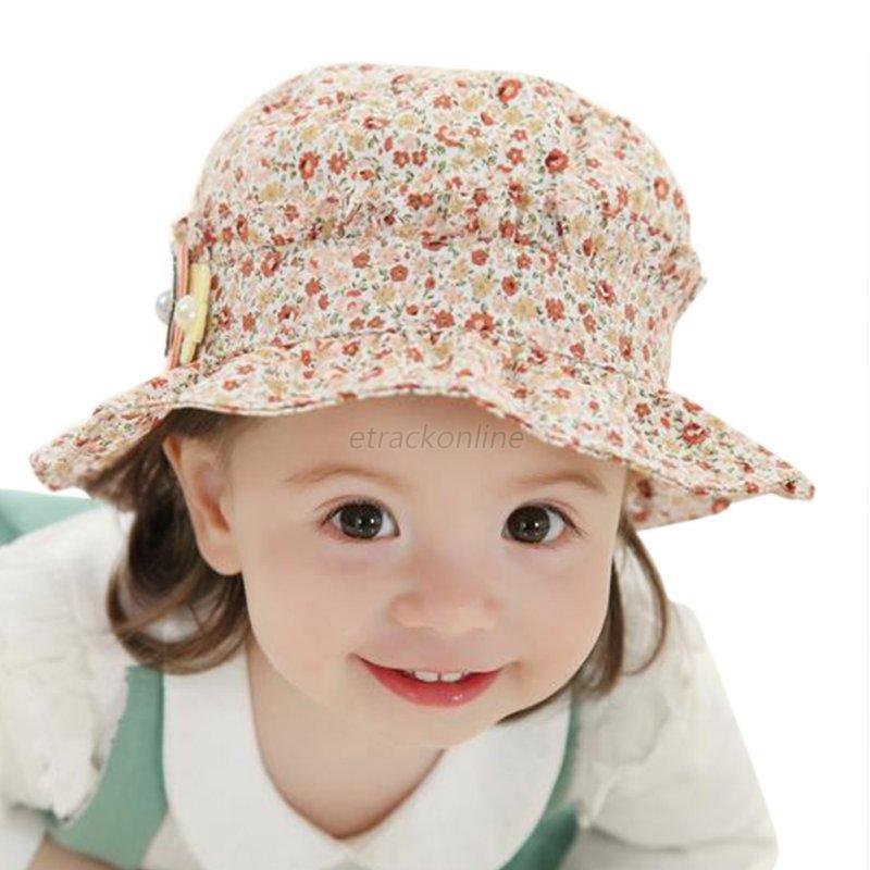 cute newborn toddler kids baby summer sun beach cap flower
