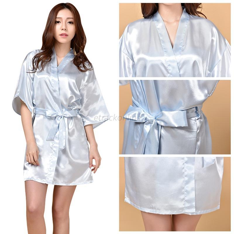 Women Satin Kimono Dressing Gown Long Bath Robe Nightie Dress ...