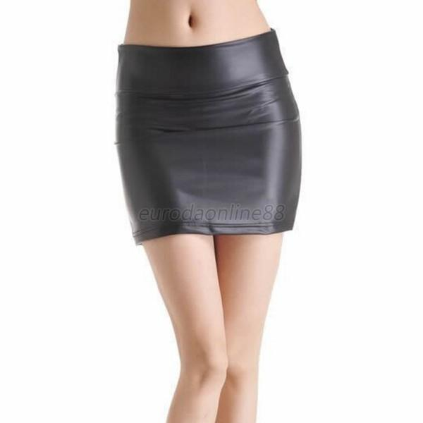 Hot Lady Girl Black Stretch Faux Leather Skirt Slim Tights Zip ...