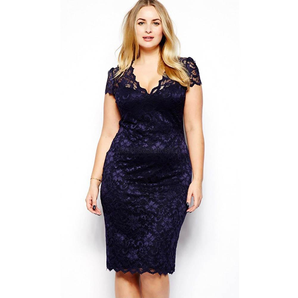AU-Plus-Size-Women-V-Neck-Short-Sleeve-Lace-Floral-Evening-Party-Cocktail-Dress