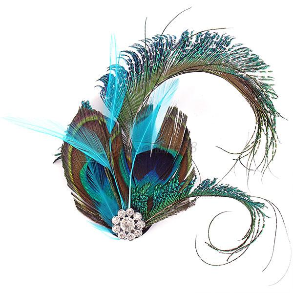 Beauty Lady Peacock Feather Hair Decor Rhinestone Hairpin