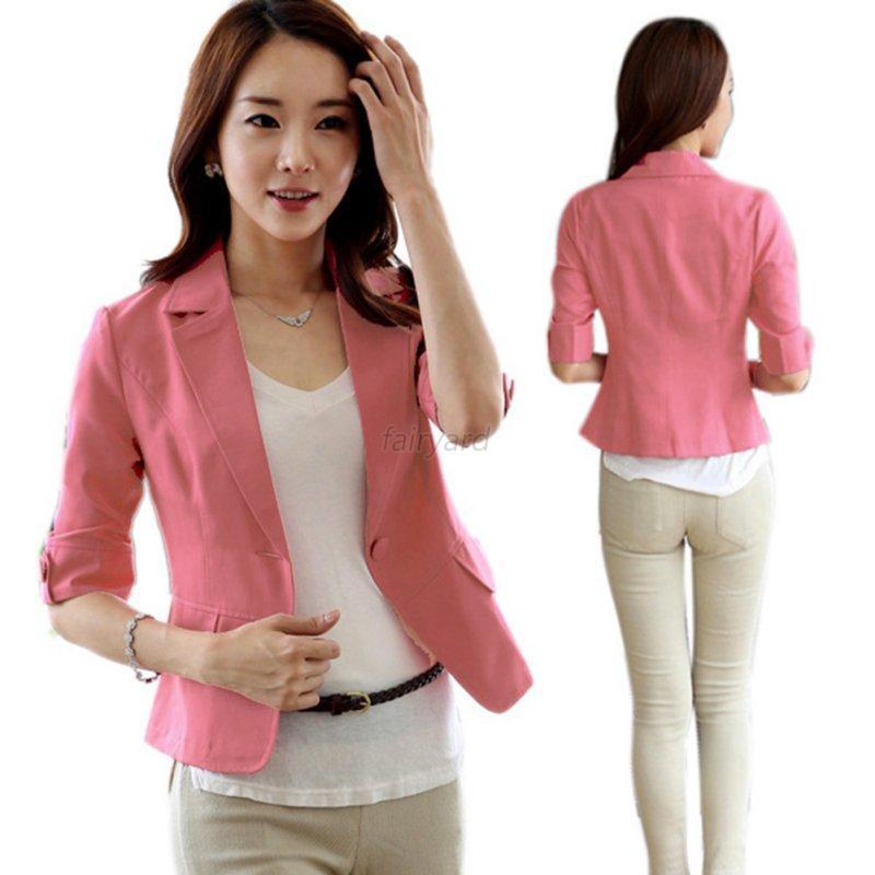 mode femme 3 4 sleeve suit blazer lapel button short ol. Black Bedroom Furniture Sets. Home Design Ideas