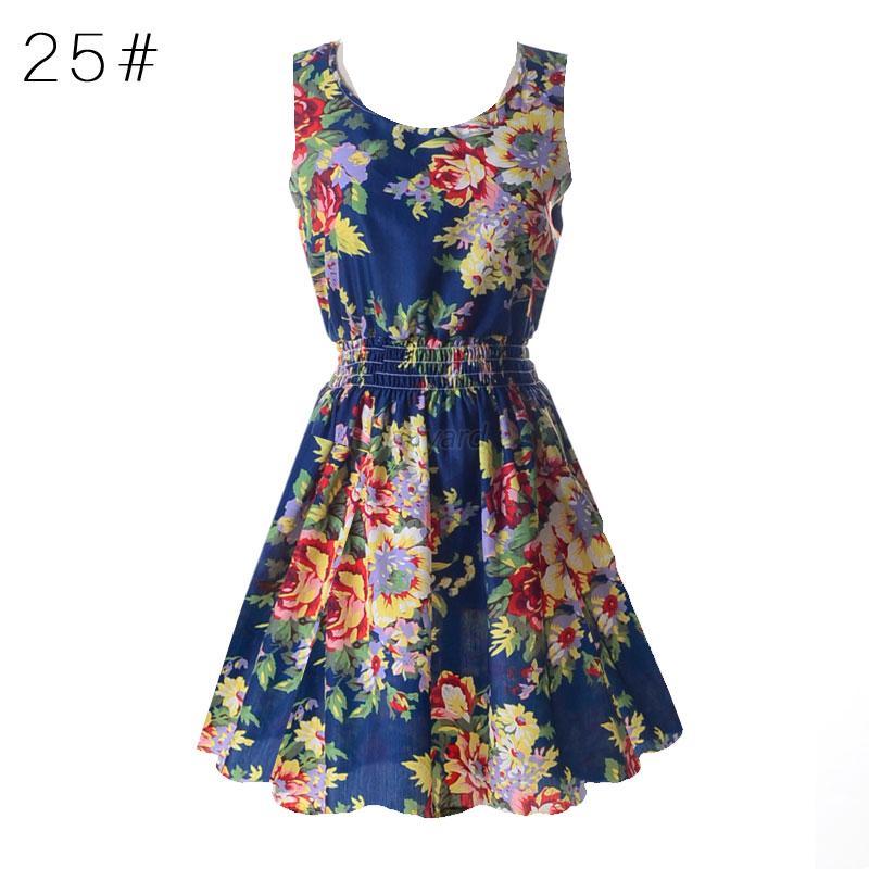 Donna-Vestiti-Chiffon-Floral-Mini-Dress-Sleeveless-Beach-Party-Cocktail-Sundress