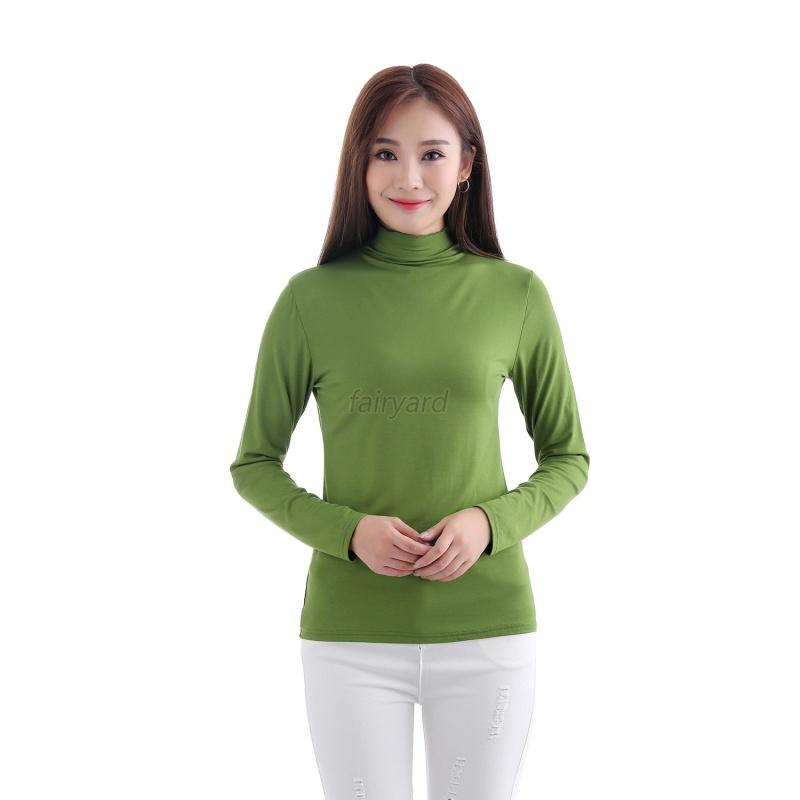 Muslim Womens Long Sleeve Soft T Shirt High Collar Tee