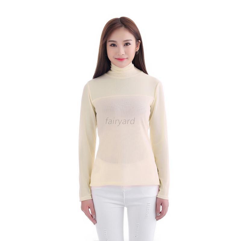Women musilm mesh net t shirt long sleeve tee high collar for Mesh long sleeve t shirt