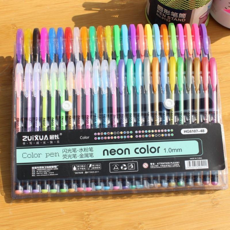 Colorful-Gel-Pens-Cute-Pen-Metallic-Pastel-Neon-Glitter-Sketch-Stationery-Pen