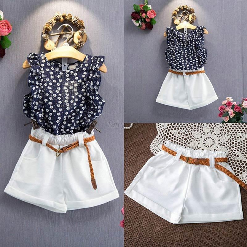 Toddler Cute Kids Baby Girls 2pcs Clothes T Shirt Tops Shorts Skirts
