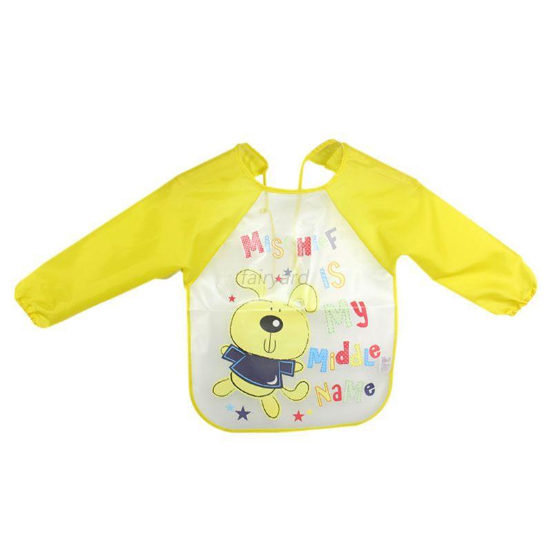 Baby Toddler Long Sleeve Bibs Waterproof Children Kids