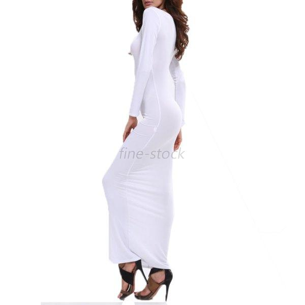 Lady Long Sleeve Maxi Bodycon Dress Party Prom Formal Casual Solid
