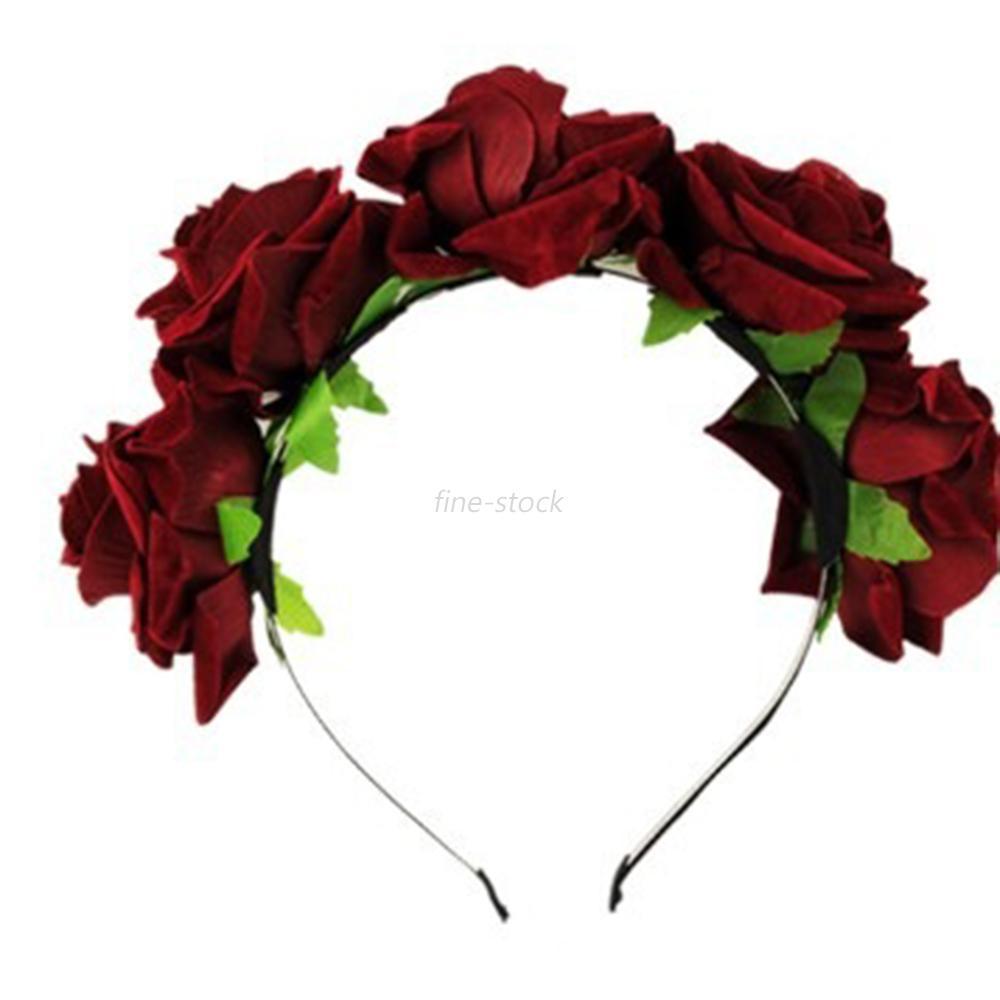 Women Rose Flower Garland Crown Headband Bridesmaid Festival Holiday Hairband