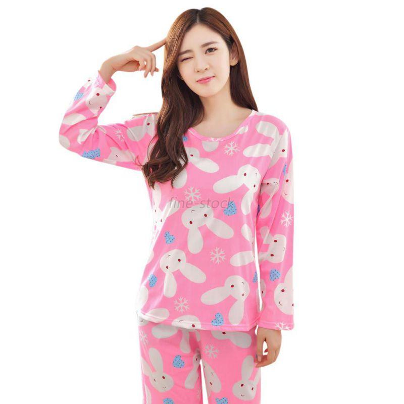 frauen herbst nachtw sche long sleeve schlafanzug set bunny floral home suit pjs ebay. Black Bedroom Furniture Sets. Home Design Ideas