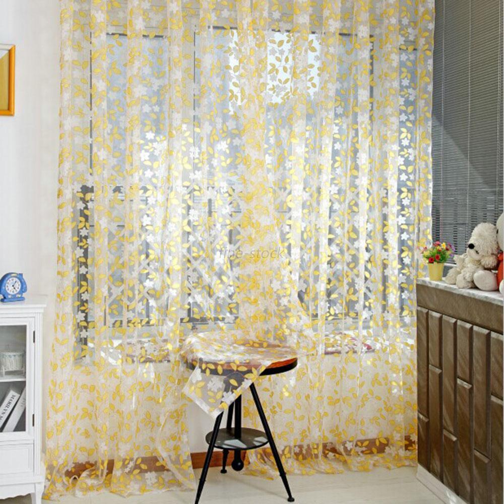 Floral modern home decor voile balcony room curtain door for Balcony curtains