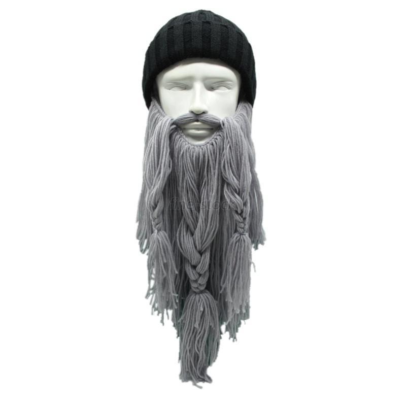 Tassel Beard Viking Knit Ski Hut Wizard Head Maske Häkeln ...