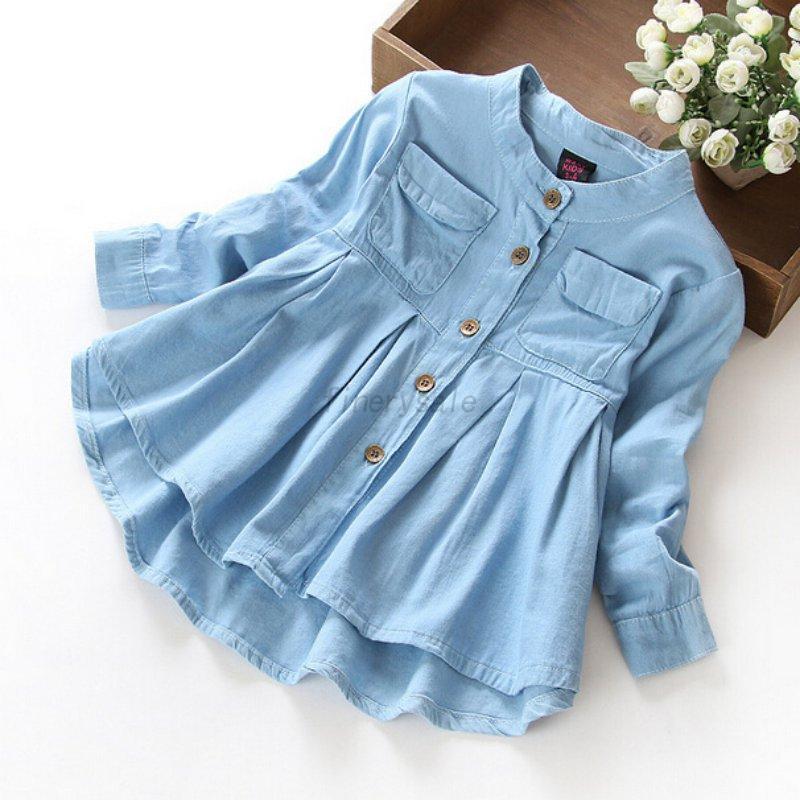 Baby-Girl-Kids-Fall-Toddler-Long-Sleeve-Dress-Tops-T-Shirt-Cotton-Button-Shirt