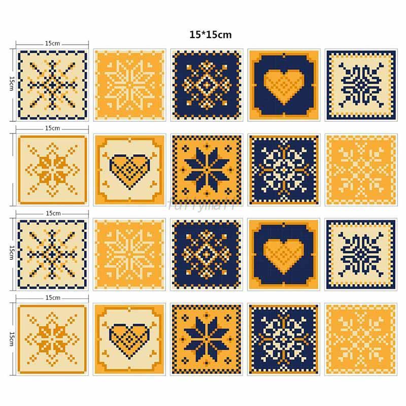 Retro 20pcs Mexican Wall Tile Sticker Decals Kitchen Bathroom Decor ...
