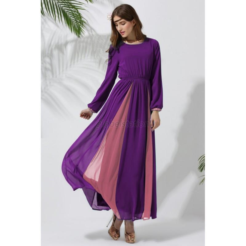 Trendy women chiffon long sleeve robes dress islamic for Robes de mariage maxi uk