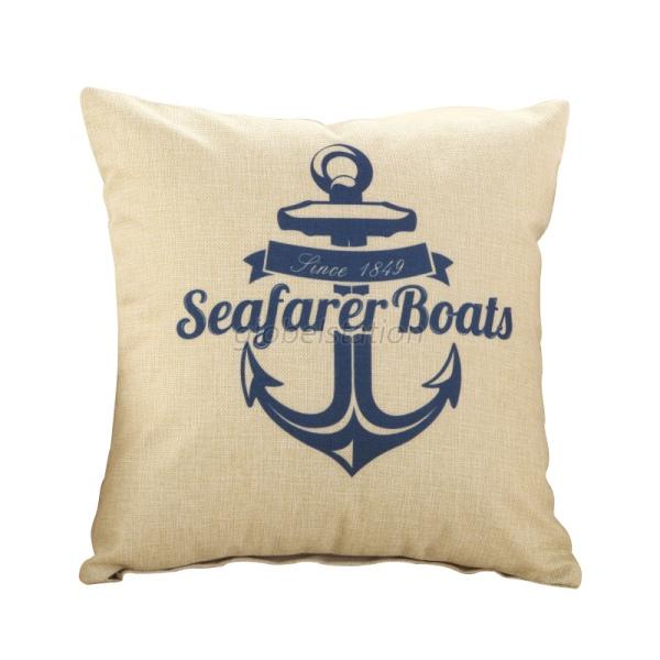 Square marine nautical cushion cover art craft linen for White craft pillow cases