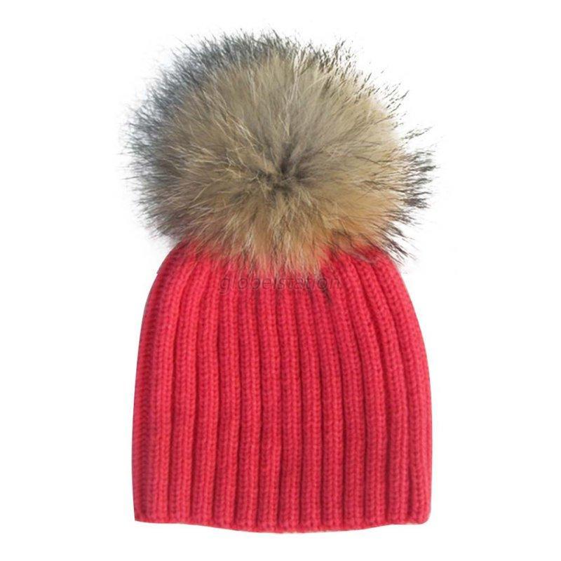 Child Baby Warm Winter Knit Natural Raccoon Fur Pom Bobble Hat Crochet Ski  Caps  101dcbe6fc4a
