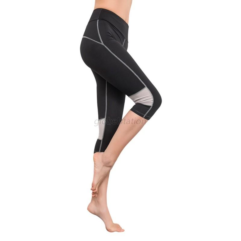 Women YOGA Running Sports High Waist Cropped Trousers