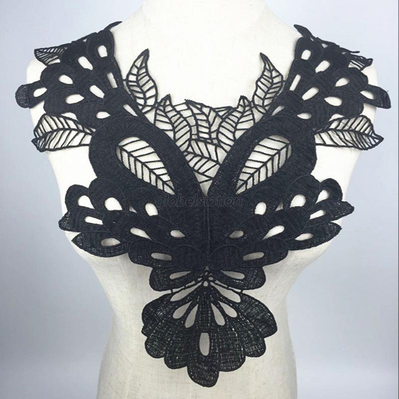 Fashion embroidered floral lace neckline neckcollar trim