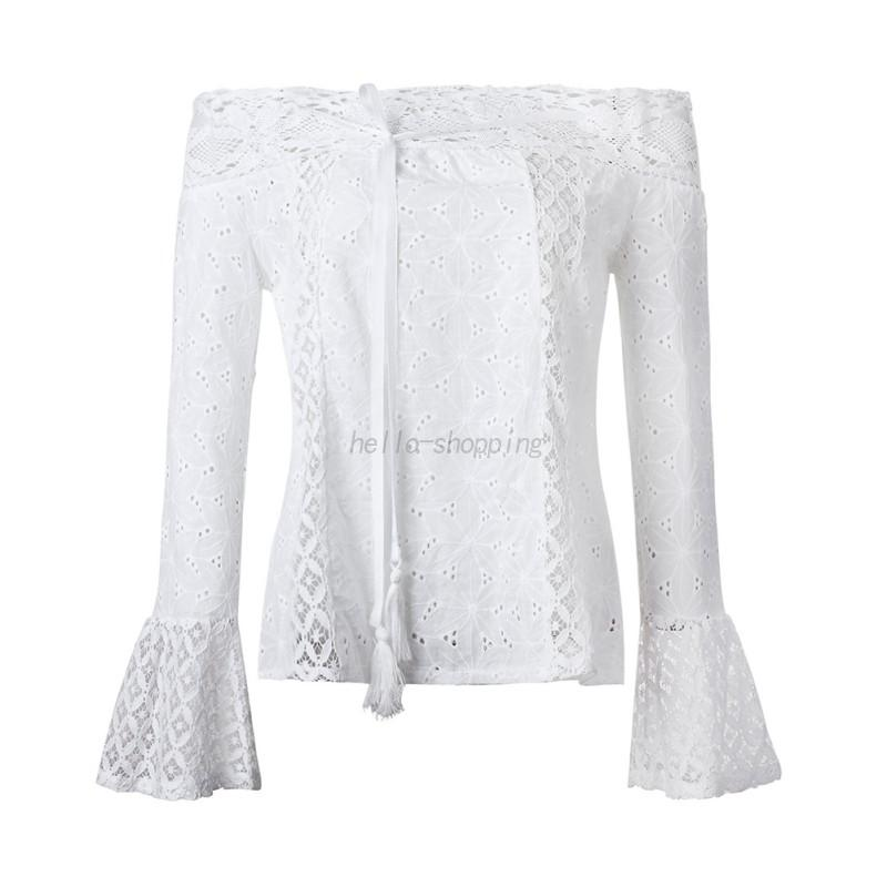 AU-Sexy-Fashion-Women-Off-Shoulder-Long-Sleeve-Tops-Casual-Lace-Blouse-T-Shirt