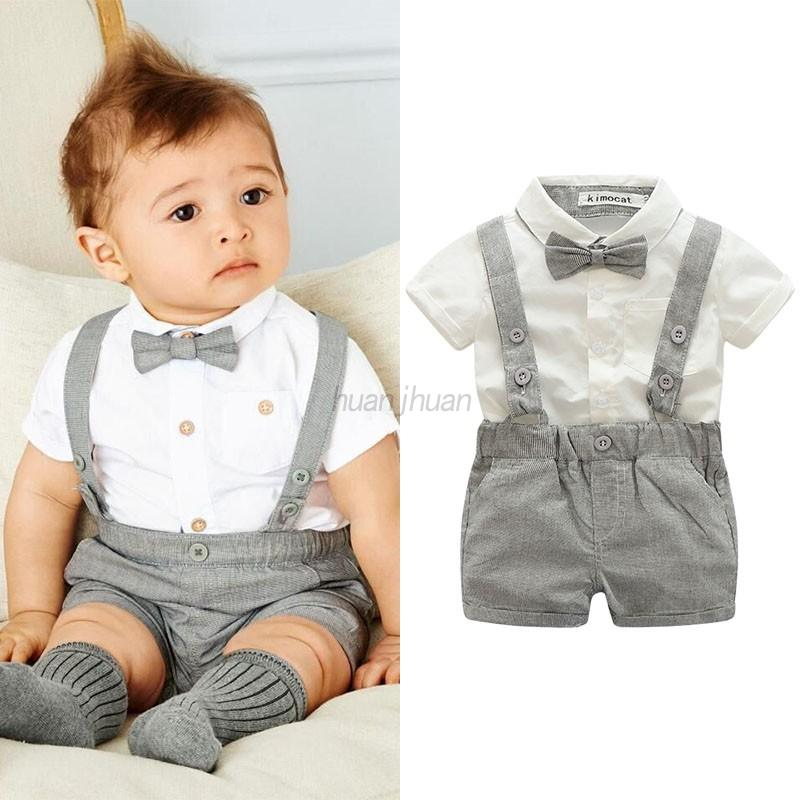 US Infant Baby Kid Gentleman Boy Wedding Formal Suit Bowtie Romper ...