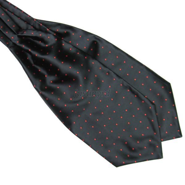 Fashion Polka Dot Men Long Silk Scarves/Cravat Ascot Ties Handkerchief Gentlemen