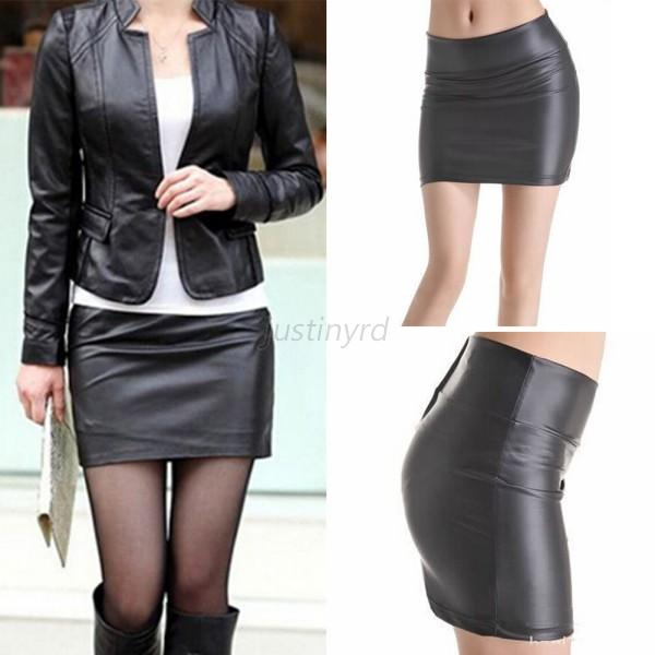 Women's Fashion Black Slim Sexy Casual Solid Tight Short Leather ...