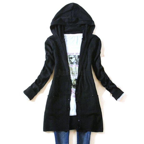 Trendy Womens Knit Hooded Sweater Cardigan Long Sleeve ...