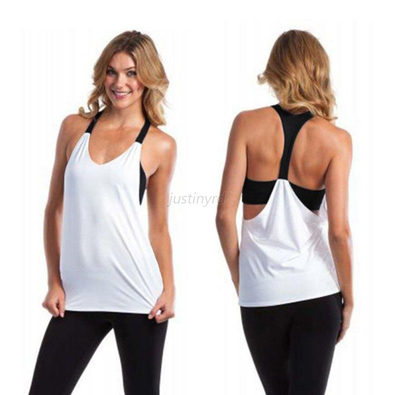 Womens Ladies Yoga Gym Sports Tops Shirts Tank Active