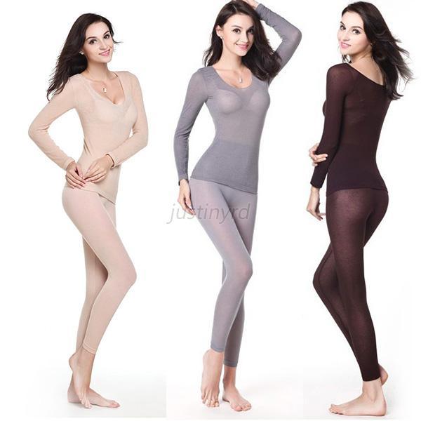 Womens Thermal Underwear Ultrathin Warmed Modal Long Johns Tops   ...