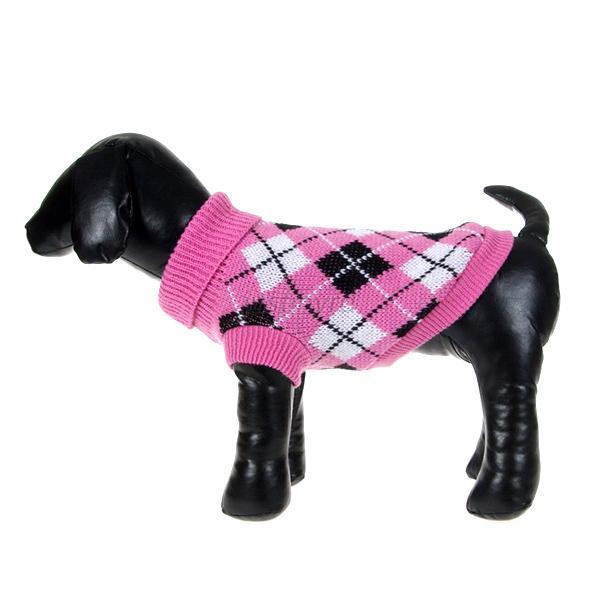 Pet Dogs Cat Plaid Pattern Knit Sweater Small Dog Coat ...
