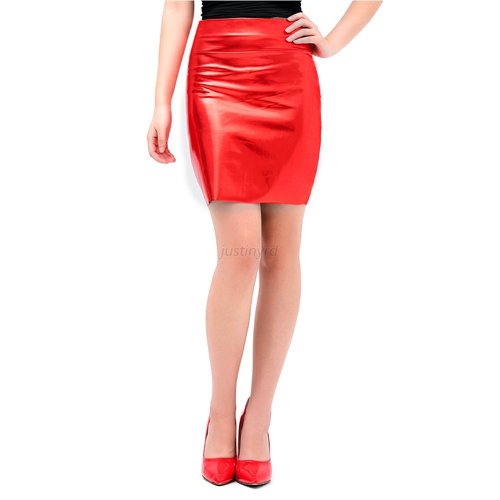 New Women39s Black Kim Latex Slip Skirt