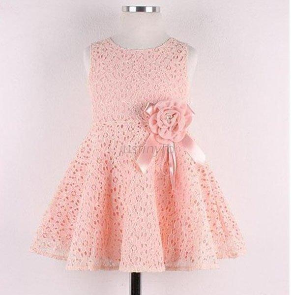 Baby Girls Kids Full Lace Floral One Piece Dress Child Princess ...
