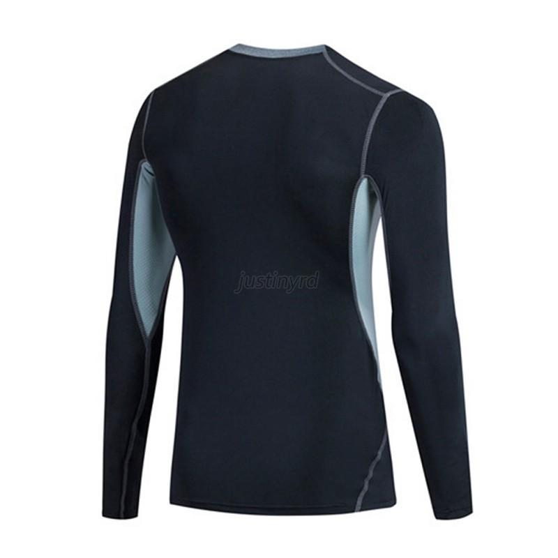 Mens long sleeve compression base layer sports wear t for Compression tee shirts for men