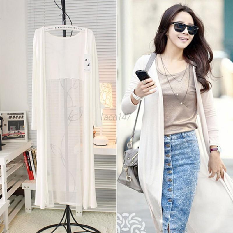 Women's Casual Long Sleeve Chiffon Cardigan Long Maxi Kimono ...