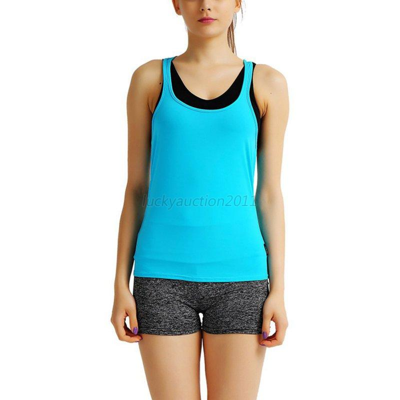 Women 39 s workout tank top t shirt gym clothes fitness yoga for Workout shirt for women