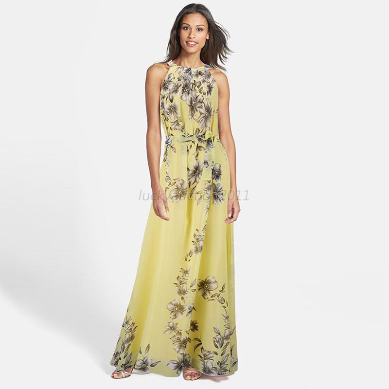 Women Summer Boho Long Maxi Evening Beach Dresses Chiffon Dress Plus