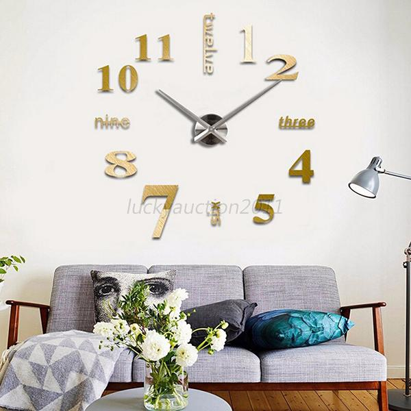 home and decor hours frameless large diy 3d wall clock home decor cool mirror 10892