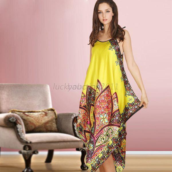 sexy femme peignoir floral pyjama veste de nuit robe bretelles en faux soie ebay. Black Bedroom Furniture Sets. Home Design Ideas