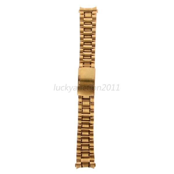 Stainless-Steel-Solid-Links-Chic-Watch-Band-Strap-Bracelet-Curved-End-18-24mm