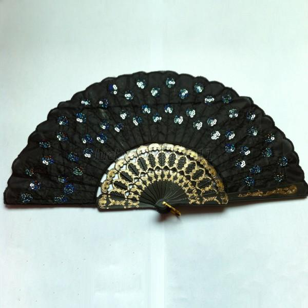 embroidered peacock tail folding sequins hand held fan. Black Bedroom Furniture Sets. Home Design Ideas