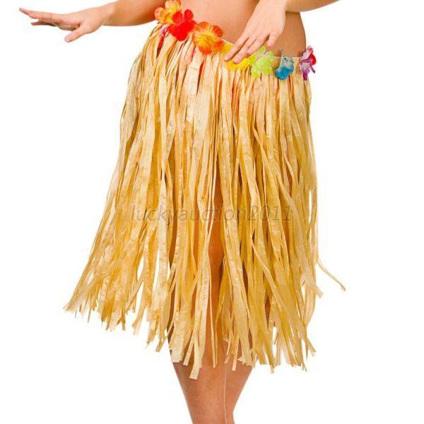 hawaiian men women grass skirt adult beach party wear