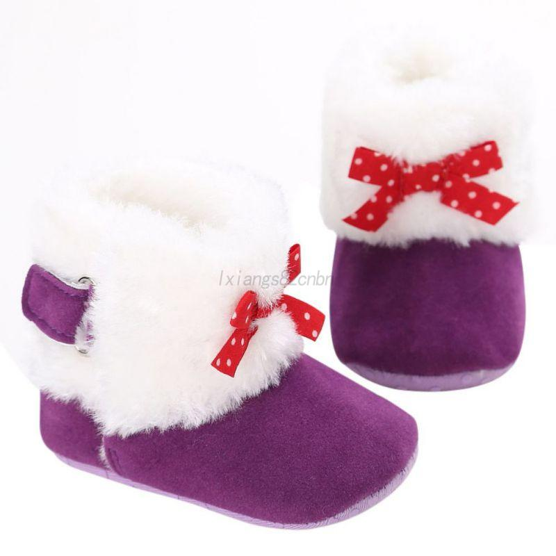 Newborn-Toddler-Baby-Girls-Winter-Warm-Snow-Booties-Soft-Crib-Shoes-Prewalker-UK
